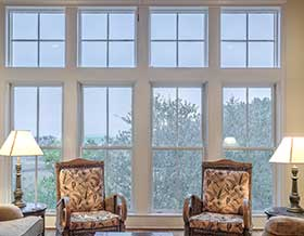 large windows inside a living room